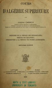 Cours d&#39;algbre suprieure by Joseph Antoine Carnoy