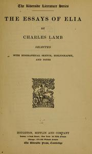 Cover of: The essays of Elia by Charles Lamb