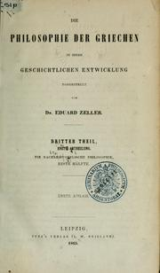 Die Philosophie der Griechen in ihrer geschichtlichen Entwicklung by Eduard Zeller