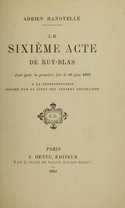 Cover of: Le sixime acte du Ruy-Blas by Victor Hugo