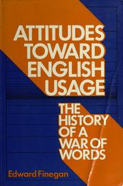 Cover of: Attitudes toward English usage by Edward Finegan