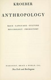 Cover of: Anthropology by A. L. Kroeber
