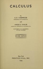 Cover of: Calculus by G. E. F. Sherwood