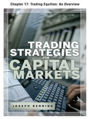 Cover of: Trading Equities by Joseph Benning