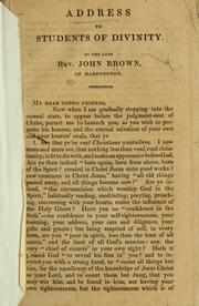 Cover of: Address to students of divinity by Brown, John