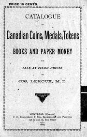 Catalogue of Canadian coins, medals, tokens, books and paper money for sale at fixed prices