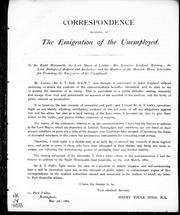 Correspondence relating to the emigration of the unemployed