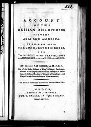An account of the Russian discoveries between Asia and America by Coxe, William