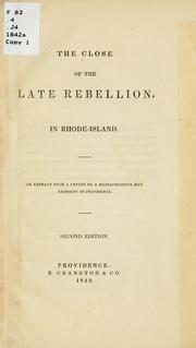 Cover of: The close of the late rebellion, in Rhode-Island by Charles Coffin Jewett