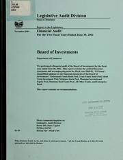 Board of Investments, Department of Commerce, financial audit for the fiscal year ended June 30 .. by Montana. Legislature. Legislative Audit Division.