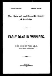 Early days in Winnipeg by George Bryce