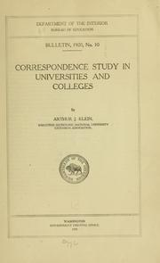 Cover of: Correspondence study in universities and colleges by Arthur Jay Klein