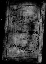 The Voters' lists for the city of London, 1878 by London (Ont.)