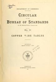 Copper wire tables by United States. National Bureau of Standards.