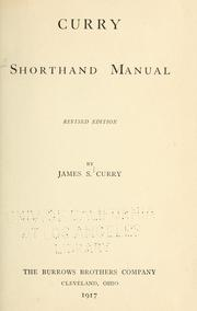Curry shorthand manual by James Samuel Curry