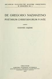De Gregorio Nazianzeno, poetarum christianorum fonte by Jan Sajdak
