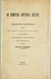 De demetrii rhetoris aetate by Arthur Altschul