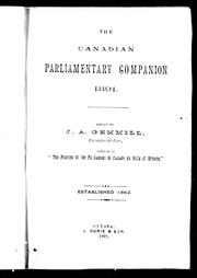 Cover of: The Canadian parliamentary companion, 1891 | John Alexander Gemmill
