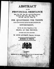 Abstract of the provincial ordinance 27th. Geo. III. chap. 2d. and of the provincial statutes 43d. Geo. III. chap. 1st. and 52d. Geo. III. chap. 1st by Lower Canada