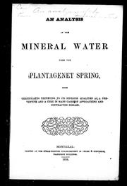 An Analysis of the mineral water from the Plantagenet spring by