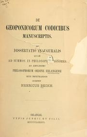 De geoponicorum codicibus manuscriptis by Henricus Beckh