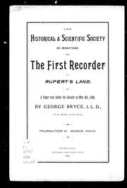 The first recorder of Rupert's Land by George Bryce