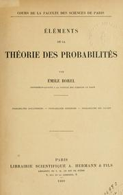 Elments de la thorie des probabilits by Emile Borel