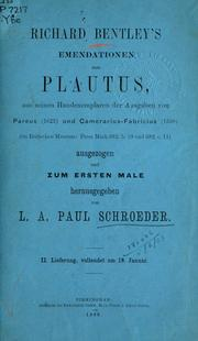 Cover of: Emendationen zum Plautus by Richard Bentley