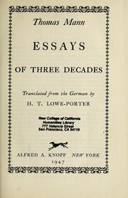 Essays of three decades by Thomas Mann