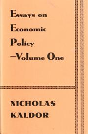 Essays on economic policy by Kaldor, Nicholas