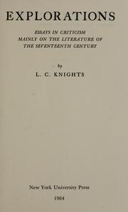 Cover of: Explorations by L. C. Knights