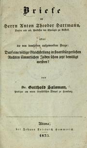Briefe an Herrn Anton Theodor Hartmann