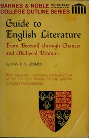 Guide to English literature from Beowulf through Chaucer and medieval drama by David M. Zesmer