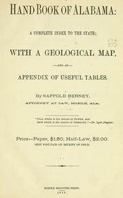 Cover of: Handbook of Alabama by Saffold Berney
