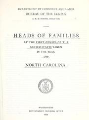 Cover of: Heads of families at the first census of the United States taken in the year 1790 by United States. Bureau of the Census
