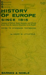 Cover of: History of Europe since 1815 by Henry Wilson Littlefield