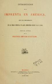 Cover of: Introduccion de la imprenta en America by Henry Harrisse