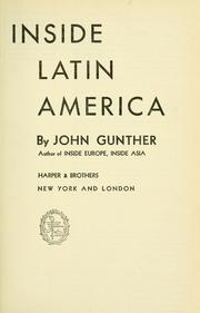 Inside Latin America by John Gunther
