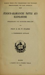Cover of: Jüdisch-Aramäische Papyri aus Elephantine by Willy Staerk