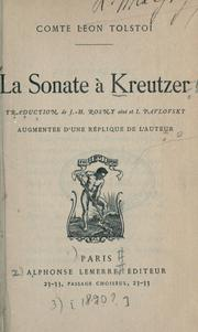 Cover of: La sonate à Kreutzer by Leo Tolstoy