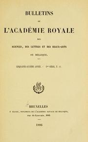 Bulletins de lAcad©♭mie royale des sciences, des lettres et des beaux-arts de Belgique