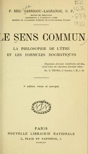 Cover of: Le sens commun by Réginald Garrigou-Lagrange