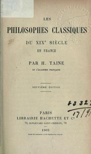 Les philosophes classiques du XIXe sicle en France by Hippolyte Taine