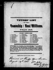 Voters' list of the township of East Williams year 1885 by East Williams (Ont.)