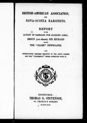 British-American Association, and Nova Scotia Baronets by