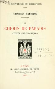 Cover of: Le chemin de paradis by Maurras, Charles