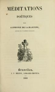 Cover of: Mditations potiques by Alphonse de Lamartine