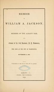 Cover of: Memoir of William A. Jackson by