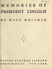 Cover of: Memories of President Lincoln by Walt Whitman