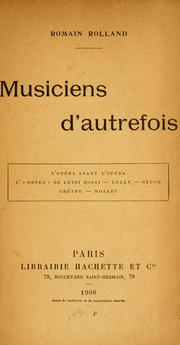 Musiciens d'autrefois by Romain Rolland